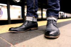 Hot little detail... skinny jeans a little roll up and dress shoes