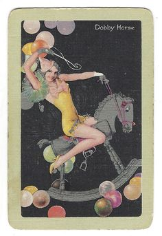 24. LOT OF 1 SINGLE SWAP PLAYING CARD VINTAGE LINEN HOBBY HORSE PIN-UP GAL