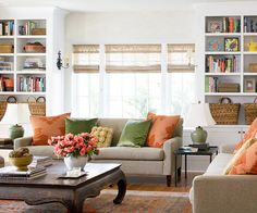 Orange and green accents add a unique pop of color to this living room. See the rest of it here: http://www.bhg.com/rooms/living-room/family/family-friendly-living-rooms-/?socsrc=bhgpin030313orangegreenroom=16