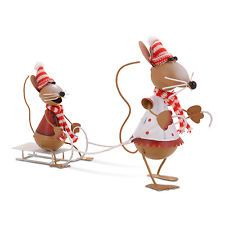 PAIR OF FESTIVE METAL SLEDGING CHRISTMAS MICE ORNAMENT XMAS MOUSE DECORATION