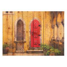 Gizaun Art Red Door Indoor/Outdoor Full Color Cedar Wall Art - RD2216