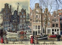 Prinsengracht, Amsterdam Anton Pieck, Amsterdam Art, City, Painting, Vintage, Painting Art, Paintings, Vintage Comics, City Drawing