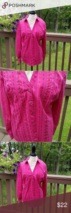 Pink Striped Blouse Beautiful striped button down blouse in bright pink. Worn once. Bundle and Save!! All reasonable offers will be considered. New York & Company Tops Button Down Shirts