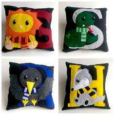 Hogwart Houses pillow Harry Potter cushion by NummiesBySamantha