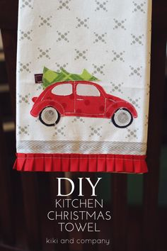 DIY Christmas Kitchen Towel Gift. Free template and instructions.