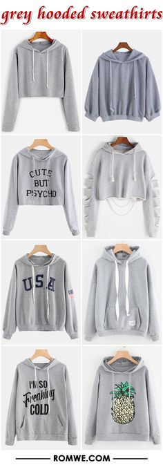 black friday sale - grey hooded sweatshirts from romwe.com