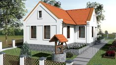 Such a cute Hungarian style design! Modern Country, Country Style, Traditional House, Exterior Design, House Plans, Pergola, Cottage, Cabin, House Styles