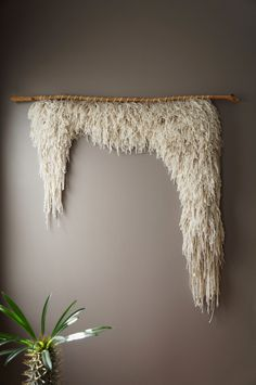 Woven Wall Hanging, Cotton Wool Tapestry, Handwoven Textile Art, Bohemian Weaving, Natural Rustic Textile, Boho Home Décor, Shag Ivory Weave by LemonCucullu on Etsy