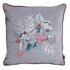 greyCarolyn Donnelly Eclectic Embroidered Cushion