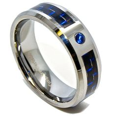 Blue Chip Unlimited - 8mm Blue & Black Carbon Fiber Tungsten Carbide Wedding Band with Sapphire Blue CZ Engagement Ring Fashion Jewelry Gift (Available in Sizes 6-15) Blue Chip Unlimited. $23.95. **Please verify your size before checking out**. Brand New Item! Great Anniversary Gift!. Sleek Tungsten Ring - Not Resizable but we are more than happy to exchange it for you.. Comfort Fit Cobalt Free 8mm Blue & Black Carbon Fiber Band with Blue Cubic Zirconia. Shape: Flat w...
