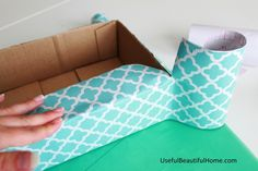 DIY wrap cardboard box with self-adhesive shelf liner for cheap, cute containers