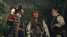 Geoffrey Rush, Johnny Depp and Kevin McNally, who have portrayed Hector Barbossa, Jack Sparrow and Joshamee Gibbs,