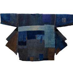 .Lady Farmer's Indigo Cotton Boro Jacket: kimono boy