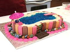 Swimming Pool Cake Ideas chocolate legos   Found on cakechooser.com