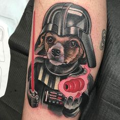 Darth Doggie tattoo by @alexischeetah  at @electriccheetahtattoos in Bethlehem PA #alexischeetah #alexiskovacs #electriccheetahtattoos #bethlehem #pennsylvania #dogtattoo #darthvader #darthvadertattoo #starwars #starwarstattoo #kong #kongtattoo #tattoo #tattoos #tattoosnob