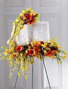 cross+funeral+sprays | Home >> Funeral Easel Sprays >> Solemn Word Standing Bible Spray