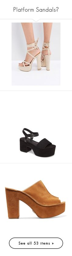 """""""Platform Sandals👠"""" by petitaprenent ❤ liked on Polyvore featuring shoes, sandals, beige, lace-up heel sandals, platform shoes, lace up block heel sandals, lace up shoes, peep toe block heel sandals, black and black chunky sandals"""