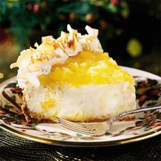 Pina Colada Cheesecake from 2001 Southern Living magazine. This is my most often complimented desserts..