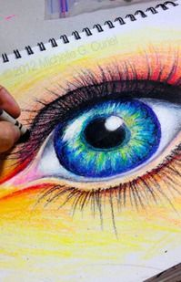 eye lesson- crayons/oil pastels