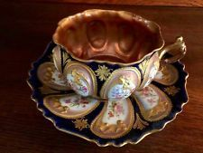 LG Antique French LONDE LIMOGES Palais Royal Cabinet Cup & Saucer JEWELED GOLD