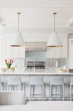 Herringbone backsplash, goodman pendants, quartz | Home Adore