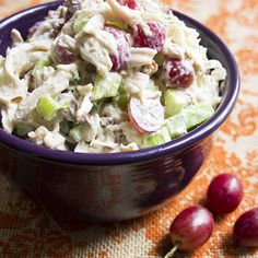 Delicious and healthy recipe for a light chicken salad that is packed with seedless grapes, crunchy pecans, and light dressing.