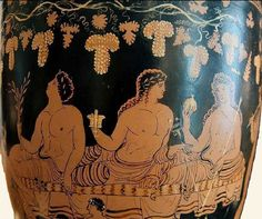 Apollo, Dionysus, and Hermes at a banquet. Apulian red-figure situla, by a painter of the Group of the Dublin Situla; Now in the National Archaeological Museum of Spain, Madrid. Zeus Children, Hermes, Greek Pottery, Greek Culture, Greek Art, Gay Art, Dionysus, Ancient Greece, Ancient Art