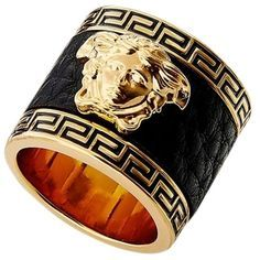 Pre-owned Brand New  Versace Leather Medusa Ring (18,215 INR) ❤ liked on Polyvore featuring jewelry, rings, accessories, gold, versace jewelry, wide band rings, preowned jewelry, leather ring and versace ring