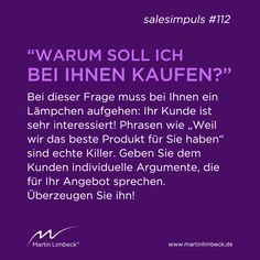#salesimpuls #112 - Geben Sie dem Kunden individuelle Argumente, die für Ihr Angebot sprechen! www.martinlimbeck.de