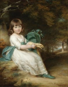JOHN RUSSELL R.A. GUILFORD 1745 - 1806 HULL PORTRAIT OF MARY SHEPPARD; seated in a landscape, she wearing a white dress with a blue-green sash and hat.
