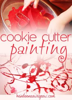Cookie Cutter Painting for Valentine's Day - easy painting activity for toddlers to do.