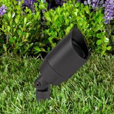 Vista Outdoor Lighting - 5006 Vista 12-Volt 5.5 Watts LED Aluminum Bullet with Ground Spike and Shroud - Black / 25 Degree Spot - Landscape Lighting  - Yard Outlet