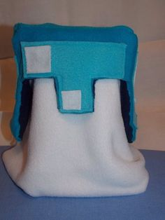 Fleece Minecraft inspired Diamond Helmet by HandEBoutique on Etsy, $20.00