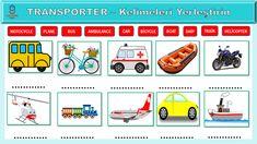 3. Sınıf İngilizce dersi Transporter ünitesi etkinliği Ambulance, Boat, Train, Dinghy, Boats, Strollers, Ship