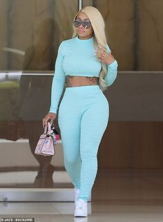 Business woman: Blac Chyna stepped out Tuesday in a sexy ensemble after a business meeting in Beverly Hills Long Sleeve Turtleneck, Long Sleeve Crop Top, Chic Outfits, Girl Outfits, Fashion Outfits, Black Chyna, Yoga Pants Girls, Pants For Women, Clothes For Women