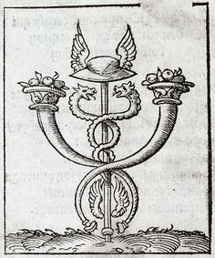 Pictura of Alciato, Andrea: Livret des emblemes (1536): Virtuti fortuna comes. La Fortune est la compagne des vertus.91.  This was the herald's staff, attribute of Mercury, god of eloquence, intellectual pursuits and financial success. The entwined serpents are a symbol of peace. . The caduceus was Alciato's personal device and was carved on his tomb at Pavia. 2.  Amalthea was the she-goat that suckled the infant Jupiter. Her horn became the cornucopia,