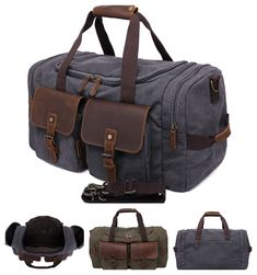 Canvas duffle travel bag with genuine leather trim and a mulitple convenient external compartments. Spacious, convenient and functional. Dimensions: x x Leather Products, Army Green, Travel Bags, Binoculars, Leather Bag, Canvas, Travel Handbags, Tela, Travel Tote