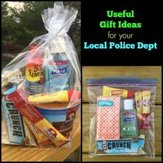 Small Appreciation Gift Ideas for your Local Police DepartmentThanks for this post.Small Appreciation Gift Ideas for your Local Police Department As the wife of a law enforcement officer I get asked all the time what are some # Appreciation Police Officer Gifts, Police Gifts, Blessing Bags, Local Police, Gifts For Office, Appreciation Gifts, Employee Appreciation, Goodie Bags, Gift Bags