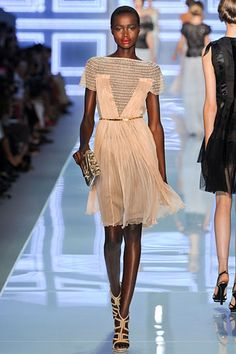Dior S/S 2012 Netted Peach Garden Party Dress-Runway