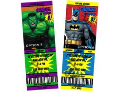 Marvel Heroes Birthday Party Ticket by Cre8iveRaesDesigns on Etsy, $11.00