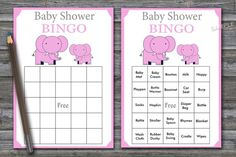 elephant baby shower bingo, pink elephant Baby Shower Bingo Cards, jungle baby shower Bingo Card , P Baby Bingo, Baby Shower Bingo, Baby Shower Activities, Baby Shower Cards, Baby Shower Printables, Baby Shower Gifts, Elephant Baby Showers, Baby Elephant, Blank Bingo Cards