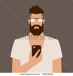 Flat Cartoon Hipster Character, Vector Illustration Man With Phone - 220536526 : Shutterstock