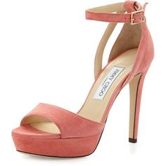 Jimmy Choo Kayden Suede Ankle-Wrap Sandal (2.110 RON) ❤ liked on Polyvore featuring shoes, sandals, heels, scarpe, coral pink, ankle strap sandals, strappy sandals, pink heel sandals, strappy high heel sandals and ankle strap heel sandals