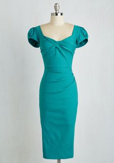 Plus size teal pinup wiggle dress. Love it. $174  Only a few left in stock.