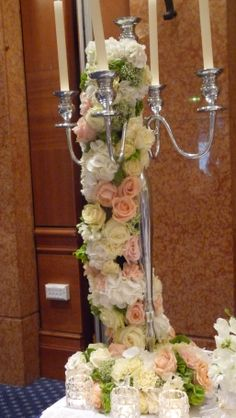 A romantque candelebra design for a wedding fair.