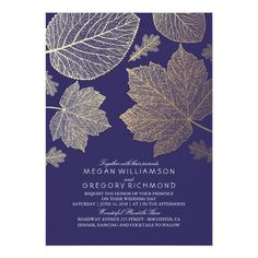 Navy Gold Leaves Vintage Fall Wedding Card