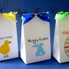 Free printable Easter bags & tutorial. An easy craft idea. You just have to print them off from our PDFs to make them at home. They take just 2 pieces of standard paper and a glue stick to construct each bag.