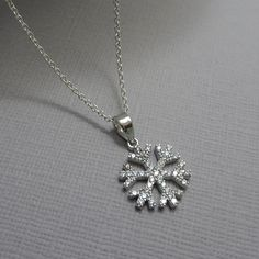 Sterling Silver and CZ Snowflake Necklace, Winter Wedding Necklace, Bridesmaid Necklace, Bridesmaid Gift, Snowflake Jewelry Flower Girl Gift