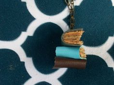 DIY book stack pendant necklace