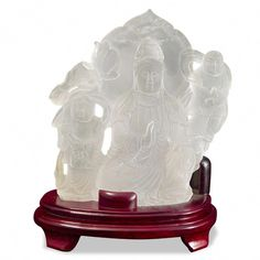 Frosted Quartz Guan Yin with Two Children. Chinese Inspired Home Accents. Feng Shui For the Home. Garden Clearance, Feng Shui Garden, Floor Screen, Buddhist Traditions, Jewelry Chest, Guanyin, Second Child, Lamp Light, Accent Decor